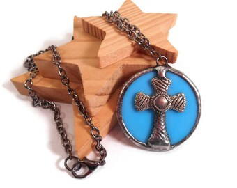 Stained Glass Jewelry Turquoise Blue Glass Necklace Cross Pendant Handmade Jewelry Glass Metal Necklace Blue Cross Necklace Cross Jewelry