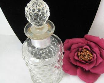 Perfume Bottle, Vintage Hobnail Glass, Ground Glass Stopper, 50's cologne