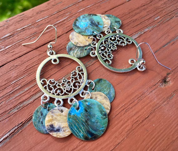 "Light Blue & Natural ""Simply Chandelier"" Mussel Shell Earrings"