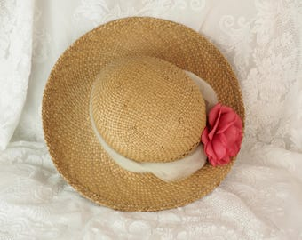 Straw Hat- Vintage Women's Hat with scarf and fabric rose- Garden Sun Hat- Wide Brim