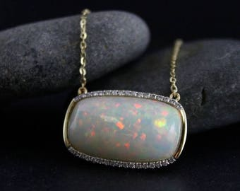 ON SALE Opal Bar Necklace – Diamond Halo – October