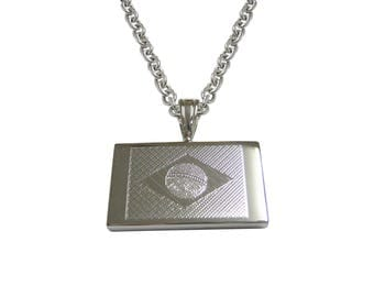 Silver Toned Etched Brazil Flag Pendant Necklace
