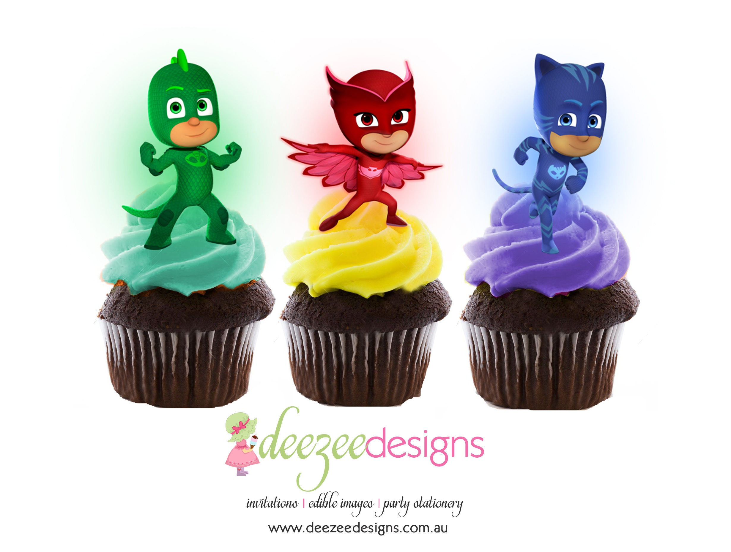PJ Masks Edible Wafer Stand-Up Cupcake Toppers Set of 16