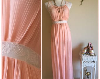 70s Blush Pink Pleated Nightgown - Long Sheer Nightie - Accordion Pleated Sleeveless Dress - Vintage Long Pink Nightgown - Womens Medium