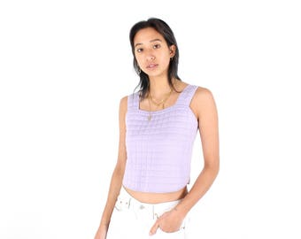 2001 CHANEL Pastel Purple Y2K Quilted Futuristic Sci Fi Minimal Square Neck Crop Top