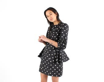 80s AVANT GARDE Polkadot Black & White Origami Peplum Fitted Wiggle Party / Formal / Cocktail Dress