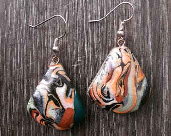 Abstract Tiger - earrings, handmade from polymer clay