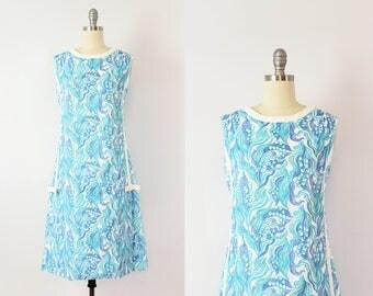 vintage 60s LILLY PULITZER dress / 1960s floral sundress / blue white floral print dress / sleeveless shift dress / The Lilly designer dress