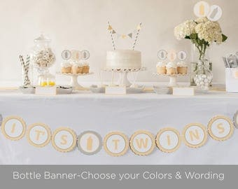 Bottle Baby Shower Banner - Baby Shower Decorations - Choose you Colors and Wording