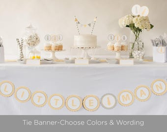 Tie Banner, Little Man Baby Shower, Boy Baby Shower, Baby Shower Decor, Yellow and Gray Decorations