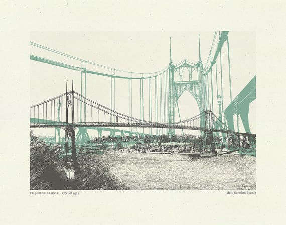 As Seen on Portlandia (t.v. show) - St. John's Bridge Art Print - Portland Oregon