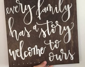 """Wood Sign Wall Art: Every Family Has  A Story, Wooden Sign, 12""""x12"""" Farmhouse, Decor"""