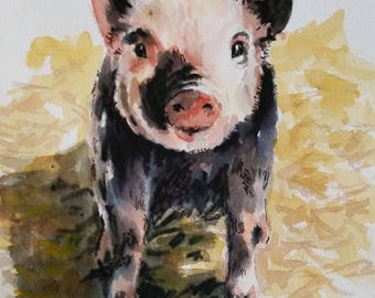 """My Little Piggy - 8"""" x 10"""" print of my original watercolor painting"""