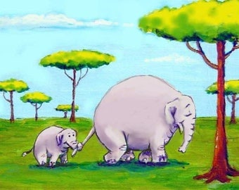 """Momma and Baby Elephant Art Print 8""""x10"""" FREE SHIPPING"""