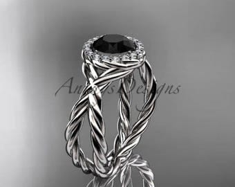 14kt white gold diamond rope engagement ring with a Black Diamond center stone RP889