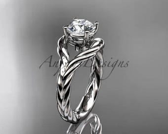 "14k white gold ""Forever One"" Moissanite twisted rope engagement ring RP8125"