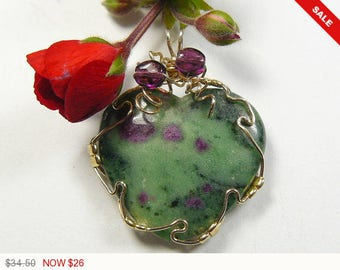 Ruby and Fuchsite wire wrapped gemstone cabochon, 14kgf wire wrapped pendant, natural gemstone, heart shaped, polished back (w10762)
