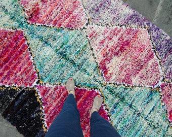 Vintage Moroccan Boujad Boucherouite Rug Moroccan Carpet Berber Rug Boho Azilal Decor - FREE DOMESTIC SHIPPING