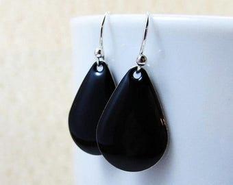 40% OFF Dangle Drop Earrings - Jet Black Epoxy Enamel Teardrops - Sterling Silver Plated over Brass (F-5)