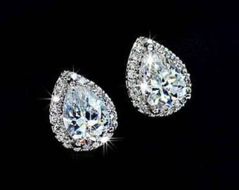 Teardrop Rhinestone Stud Earrings - Bridal Earrings - Bridesmaid Peardrop Earrings