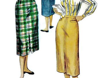 Simplicity 4770 Sewing Pattern Vintage 1950s Women's Fitted Wiggle Pencil Skirt Mad Men Style Waist 26