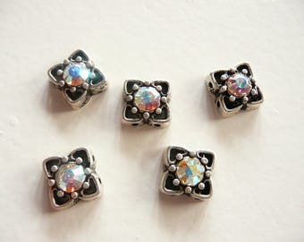 Swarovski Crystal Antique Silver Plated 2 Hole Slider Bead - 11mm - Crystal AB - 5 pieces