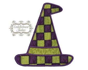 ON SALE NOW Green and purple witch hat- iron on embroidered fabric applique patch