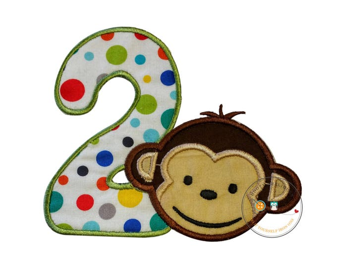 Mod monkey bot with number 2. Iron embroidered fabric applique patch embellishment-ready to ship