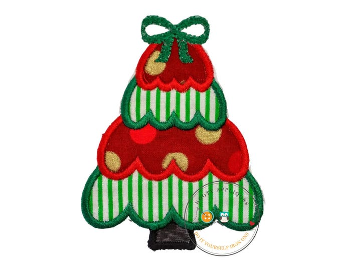 Small Christmas tree green and white stripes- iron on embroidered fabric applique patch