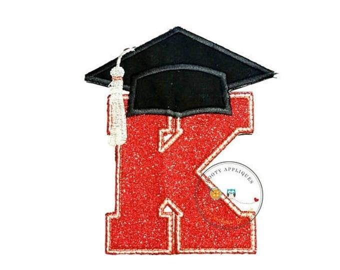 ON SALE NOW Red glitter graduation inital letter K iron on applique, embroidered graduation letter K in red and silver fabric, graduation ir