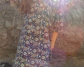 Vintage 60s indian cotton short sleeve dress- fits many sizes