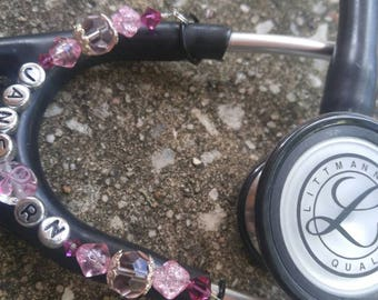 Breast Cancer Awareness PERSONALIZED STETHOSCOPE ID Charm, nurses, doctors, therapists