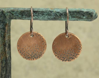 Hammered Copper Disc Earrings with Dot Pattern, Drop Earrings, Copper Earrings, Hammered Copper Earrings, Hammered Earrings