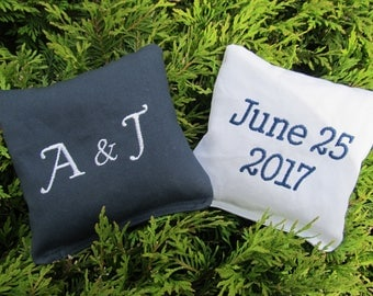 Personalized Wedding Cornhole Game Bags - Initials and Date - Set of 8 Shown in Navy Blue and White