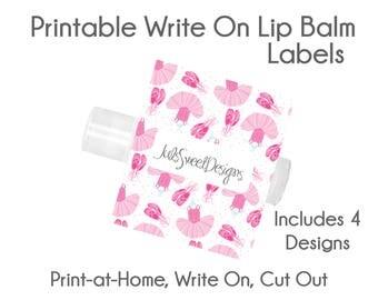 Ballet Lip Balm Labels - Ballet Ballerina Ballet Dress Stripe Dots 4 Designs, Write On Print at Home Instant Download, Lip Balm Labels