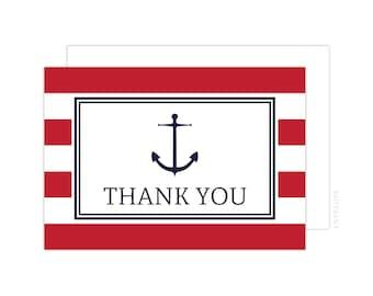 Nautical Anchor Thank You Cards (Red Anchor Folded Note Card, Baby Shower Thank You, Anchor Thank You Card)