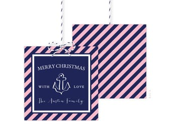 Nautical Christmas Gift Tags - Holiday Party Favor Tags - Christmas Party Tags - Printed or Printable - Free Shipping