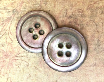 2 Pretty Victorian Carved Shell Buttons with Mauve Tones