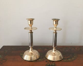 glam brass and chrome candlestick holders. gold and silver candlestick holder place setting/ boho vintage wedding holiday table decor