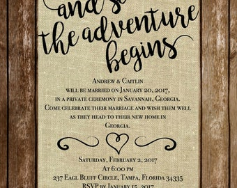And So The Adventure Begins - Wedding Reception Invitation - 5 x 7 - Download - Printable