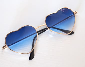 Blue heart sunglasses Embellished Decorated sunnies Summer party accessories Perfect gift Best gifts