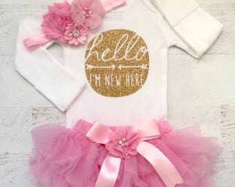 Baby Girl Coming Home Outfit, Baby Girl Outfit,  Take Home Outfit, Hello World, baby girl clothes, newborn girl, newborn, baby girl clothes,