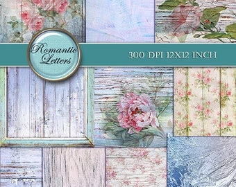 Sale 60% Shabby chic Digital Scrapbook Paper pack Shabby Chic rose digital background floral digital scrapbook printable paper Shabby paper