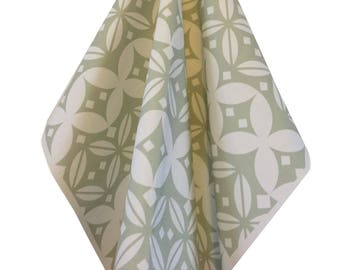 "Geometric Hygge Style Fabric, Scandinavian Green Fabric, Printed Upholstry Material ""The English Mansion Range"" by Amy Lucy"