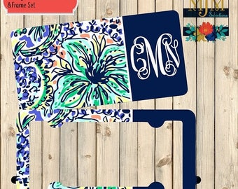 SALE Personalized License Plate and Frame Set ~ Floral License Plate Frame Set ~ Lilly Pulitzer License Plate and Frame Set ~ Summer Car Pla