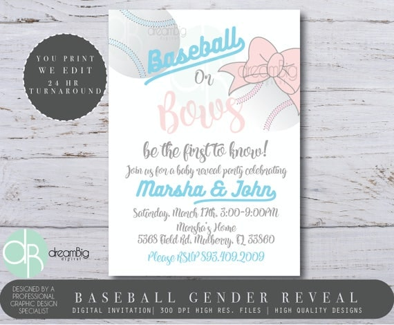 baseball or bows gender reveal invitation baby reveal invite