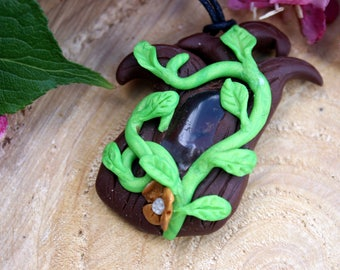 Clay Pendant with Moss Agate on Black Hemp Cord