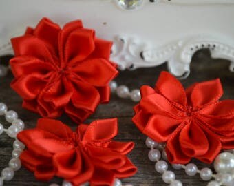 "Red 1.5"" Satin Flowers,  Petite Satin flower, Satin Ribbon Flower, Fabric Flower, Ribbon Flowers, Fabric Flowers"