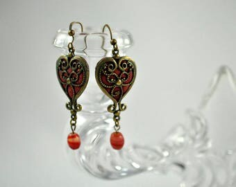 Antique Brass and Red Earrings