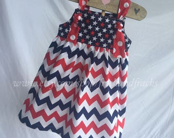 Red, White and Blue 4th of July Knot Dress, America Dress, USA Dress, 4th of July Outfit, Red White and Blue Wear, Patriotic Dress